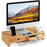 relaxdays Support pour moniteur, en bambou, Rehausseur d'écran avec 2 tiroirs rangements, bureau, HLP 12x56x27cm, nature, 12