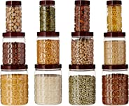 Amazon Brand - Solimo Checkered Airtight Jar Set of 12