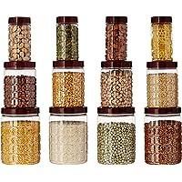 Amazon Brand - Solimo Checkered Airtight Jar Set of 12