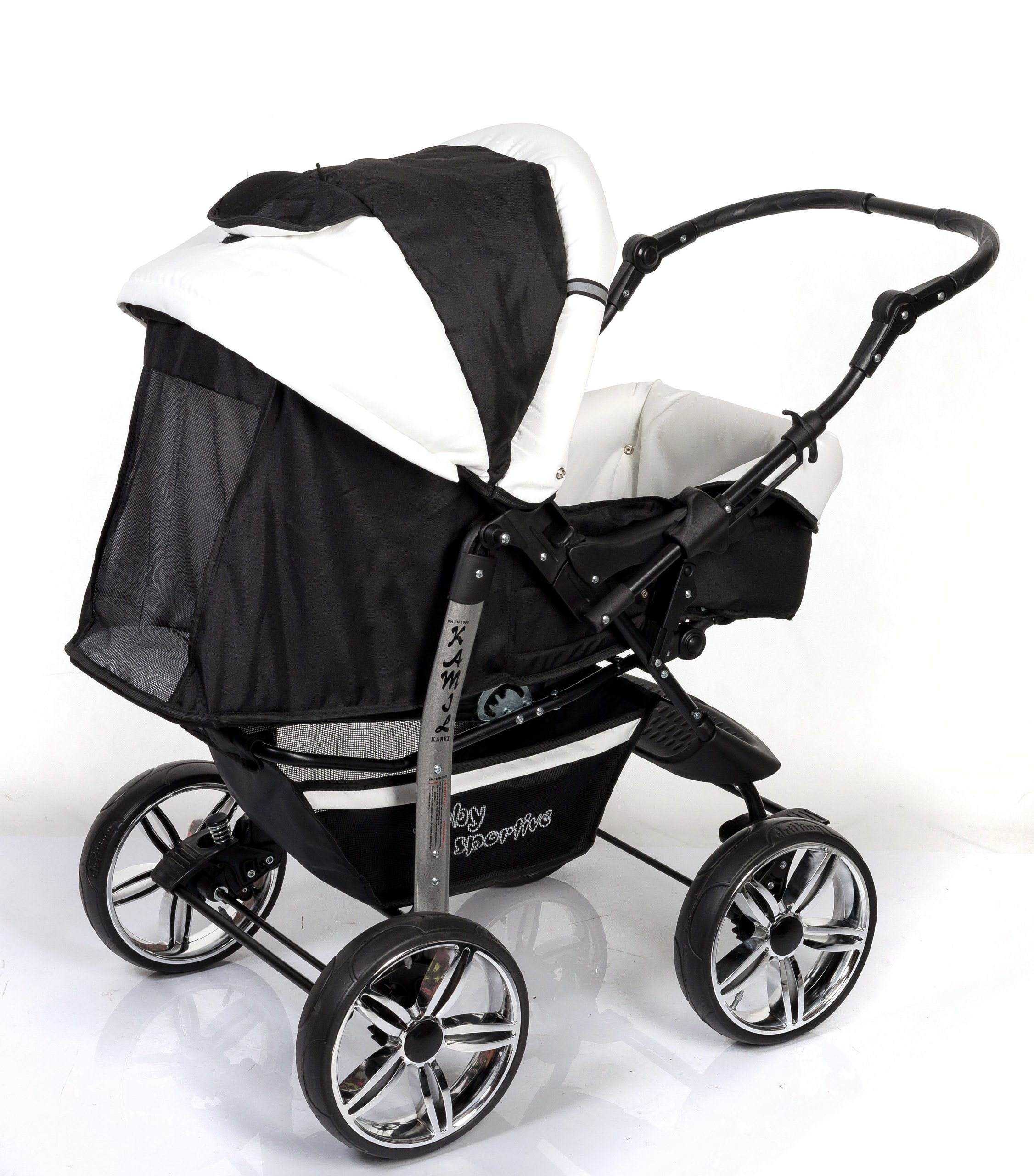 3-in-1 Travel System with Baby Pram, Car Seat, Pushchair & Accessories, Black & White   7