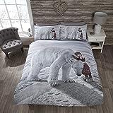 Polar Bear Quilt Duvet Cover and 2 Pillowcase Bedding Bed Set, Multi-Colour, King