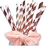Confezione da 100 cannucce di carta per matrimoni e compleanni, a strisce dorate rosa luccicanti, per feste, eventi e festivi