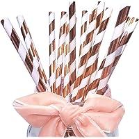 Lot de 100 pailles en papier à rayures rose et doré