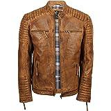 Mens Genuine Real Leather Biker Jacket Vintage Moto Style in Distressed Brown, Tan, Black