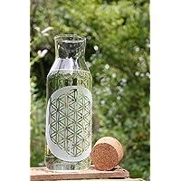 Freiglas Carafe de 1 l avec la fleur de vie et bouchon en liège - Fabriquée en Forêt Noire