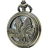 SEWOR bronzo del Giappone movimento al quarzo Orologio da tasca con doppia catena (metal & Leather)