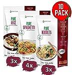 PurePasta Konjac Sin Gluten Tallarines - Arroz - Espaguetis 10 Pack * 200 g | Shirataki Con Harina Gluten Free Con La...