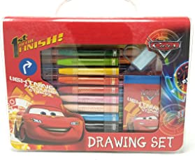 HM Disney Cars Drawing with Colour Pens, Oil Pastels and Stationery in Box - 28 Pieces Set