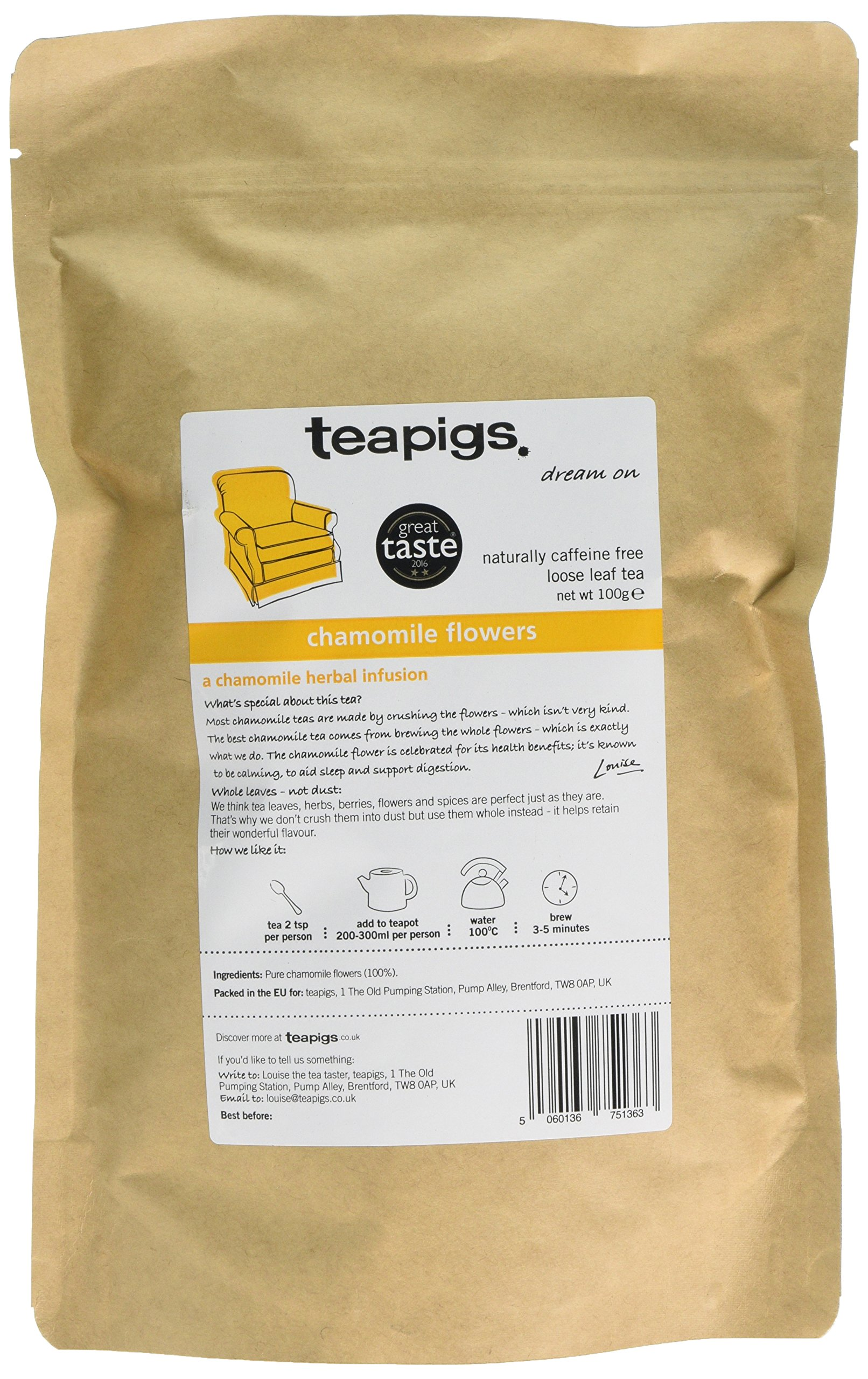Teapigs chamomile flowers tea (infusions) (100g) (a floral tea with aromas of camomile) (brews in 3 minutes)