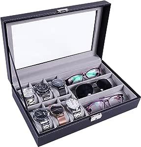 Meshela 5 Grids Bo/îte de rangement pour lunettes de soleil en cuir PU Verre Noir