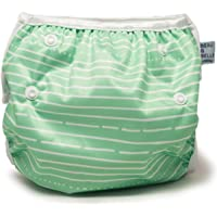 Beau & Belle Littles nageuret riutilizzabile e pannolino nuotatore regolabile 6 - 36 libbre Strisce verdi