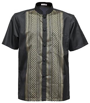 Men's Shirt Short Sleeve Thai Silk Mandarin Band Collar Black (XL ...