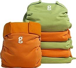 gNappies Little gPants Stoffwindel orange & grün, Größe M (5-13 kg), 6er Pack (1 x 6 Stück)
