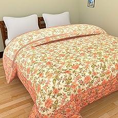 Mahadev Handicrafts Jaipuri World Famous Light Weight Pure Cotton Traditional Rajasthani Print Orange Colour Single Bed Quilt/Razai (Orange-Jal-S)