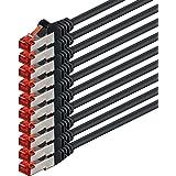 0,5m - Noir - 10 pièces - CAT6 Câble Ethernet Set - Câble Réseau RJ45 10/100 / 1000 Mo/s câble de Patch LAN Câble |Cat 6 S-FTP PIMF 250 MHz Compatible avec Cat 5 / Cat 6a / Cat 7