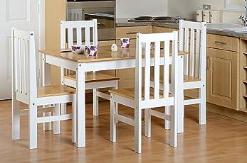 Seconique Ludlow Klein Esstisch Mit 4 Ludlow Stühle U2013 Eiche/weiß