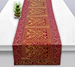 Osian Krafts Coffee Brocade & Polyester Satin Ethnic Table Runner for Dining Table 60x16 Inches