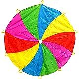 Edz Kidz 210T parachute met draaipatroon met 10 handvatten. Ideale speelmat voor binnen / buiten en picknickdeken. (1.8 meter