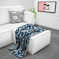 Divine Casa 110 Microfibre Reversible Geometric Design Winter Quilts Kids Comforter Blanket for Kids, Navy Blue and…