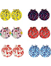 Baby Comforts Baby Girl's and Boy's Cotton Winter Protection Hand Gloves (Multicolour, 0-6 Months) -Pair of 6