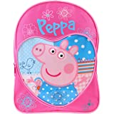 Peppa Pig Mochila para niños, diseño de corazón, color rosa y azul