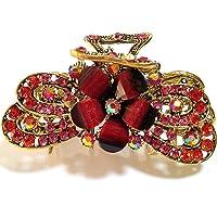 Fermaglio per capelli realizzato in metallo e pietre colorate a forma di farfalla, colore: rosso, cod. mm500022