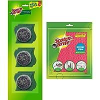 Scotch-Brite Sponge Wipe ( 5s Pack ) & Steel Scrub ( 3s Pack )