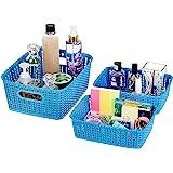Amazon Brand - Solimo 3 Piece Storage Basket Set, Blue