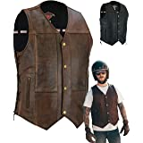 Mens Real Leather Biker Waistcoat Vest Cut - Genuine Motorcycle / Motorbike Quality Zipped Pockets With Braided Laced Sides