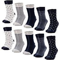 Occulto 10 Paar Damen Socken mehrfarbig mit Streifen, Punkte, Herzen und Weihnachts-Motiven | Süße Baumwoll Damensocken…