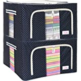 BlushBees® Living Box - Wardrobe Organizer, Cloth Storage Bags with Zip - 55 Litre, Pack of 2, Polka Dots Blue