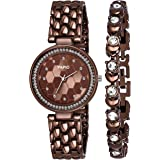 PAPIO Diamond Studded Analogue Brown Dial Women's Watch with Brown Color Bracelet P-WC 5006