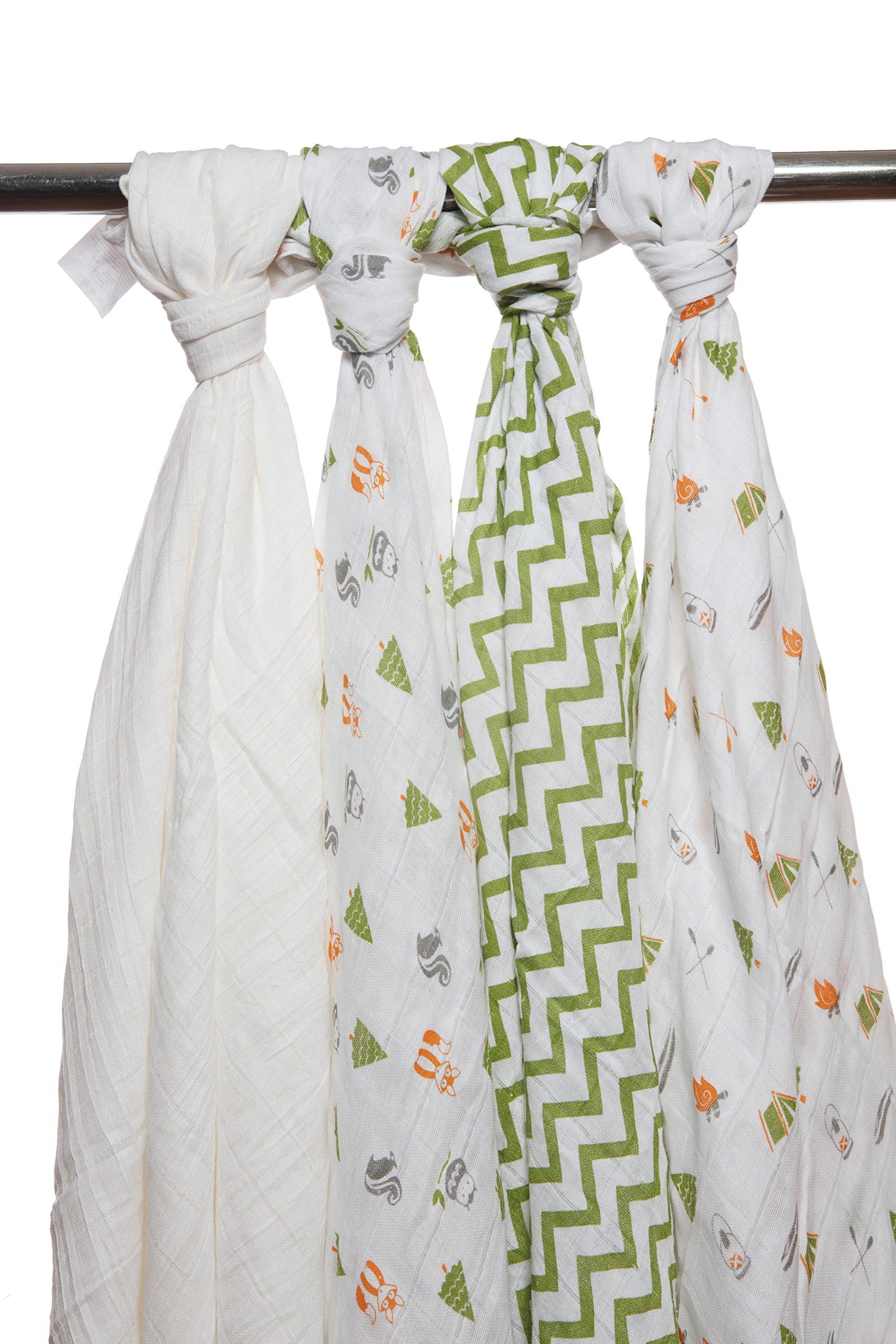 Babykin mantas de muselina de algodón orgánico, aventura de campamento, paquete de 4 piezas