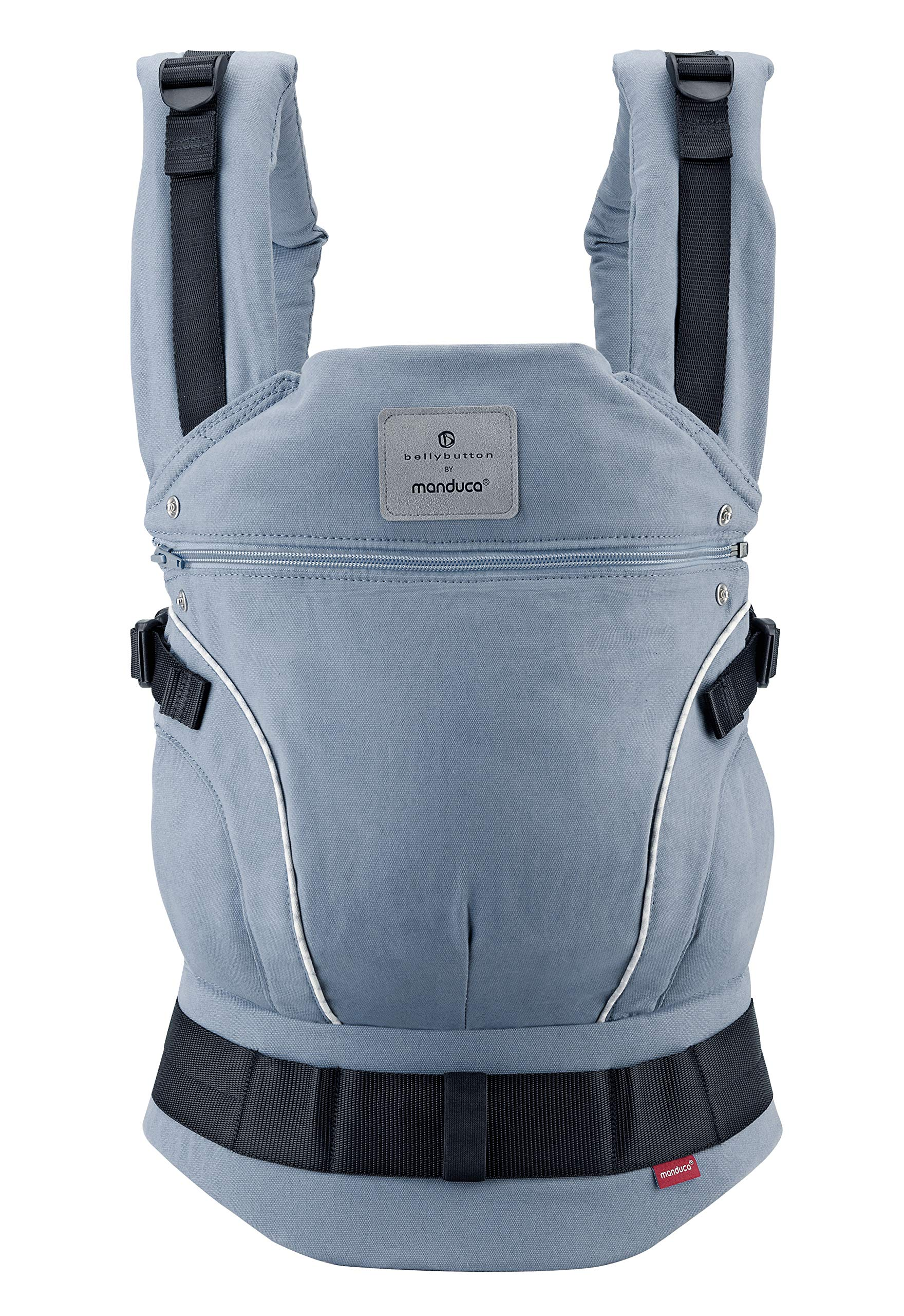 manduca First Baby Carrier > Bellybutton by manduca Edition, SoftCheck Blue < Child Carrier with Ergonomic Waist Belt & Patented Back Extension, Newborn to Toddler Manduca Trendy design in typical Bellybutton look, fine checked pattern on elegant grey, premium baby carrier made from 100% soft organic cotton with optimised finish, does not attract lint. Already integrated: seat reducer, stowable head and neck support, patented back extension, recommended accessories for newborns: Size-It (bridge reducer) and ZipIn ellipse. Ergonomic design for parents: anatomically shaped, dimensionally stable hip belt (up to 140 cm), 3-way adjustable soft padded shoulder straps, relieves the back and distributes the weight. 1