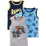 Crazy GOTEND Camisetas de Niño Camiseta sin Mangas de Algodón Camisetas Interiores Paquete de 3 - Dinosaurio - 2-6 años