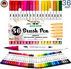 Dual Brush Pen Set Pinselstifte - [ 36 Farben ] für wunderschöne Aquarell / Watercolor , bullet journal , Hand-Lettering / Kalligraphie Zeichnungen , Manga und Comic - langlebige Doppelspitze Stifte mit weicher Fasermaler Spitze [ 1-2 mm ] und Fineliner [0,4 mm ] für hinreißende BuJo Ergebnisse