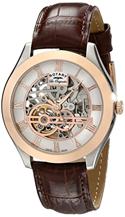 rotary men s automatic watch white dial analogue display and rotary men s automatic watch white dial analogue display and brown leather strap gs90511 21