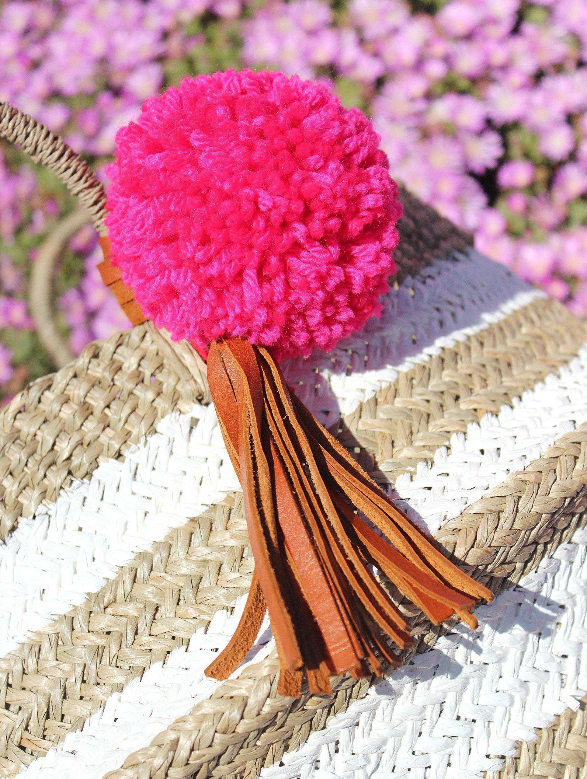 "BrunnaCo ""Chicca No. 1"" White Striped Beach Bag / Straw Bag / Pom pom beach bag / Boho Chic Beach Bag / Striped Bag / Summer Bag / Belly Basket / Panier Boule - handmade-bags"
