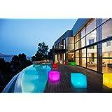 Bonetti LED Solar Gartenleuchte Würfel / Cube / 8 Farben / optionaler Farbwechsel / ca. 30 x 30 cm / IP67 / RGB / Würfel Solarlampe / Dekoleuchte / Außenleuchte / Gartenlampe / Würfelleuchte / Dekowürfel