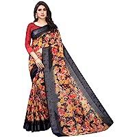 PERFECTBLUE Women's Blend Linen Saree with Unstitched Blouse Piece (DigitalPrintVariation)