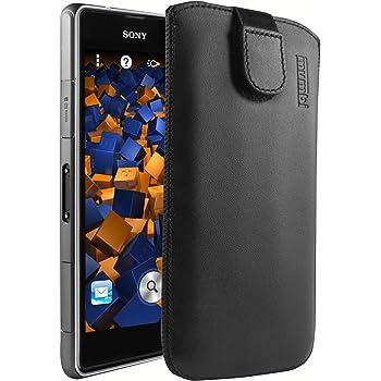 mumbi ECHT Ledertasche für Sony Xperia Z1 Compact Tasche Leder Etui (Lasche mit Rückzugfunktion Ausziehhilfe)