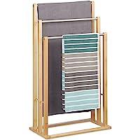 Relaxdays 10020983 Porte-serviettes sur pied 3 bras salle de bain bambou support valet serviteur HxlxP: 84 x 48 x 26 cm…
