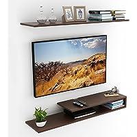 BLUEWUD Kunsua Engineered Wood TV Entertainment Unit/Wall Set Top Box Stand Shelf (Large Wenge)