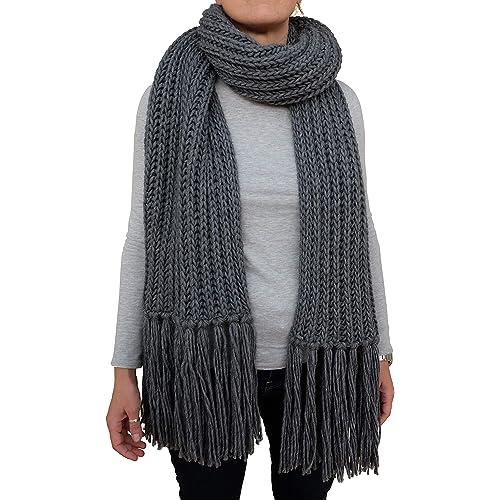 Sciarpona con frange fatta a maglia sciarpa invernale col. Grigio prodotta in Italia Made in Italy