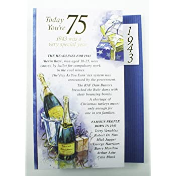75th Birthday Card Forever Young At 75 Men Who Love Life
