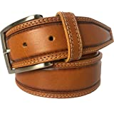 MENS BELT HONEY TAN 100% ITALIAN SINGLE SKIN HIDE LEATHER BELT DOUBLE STITCHED 40MM FORMAL CASUAL JEANS TROUSERS CHINOS