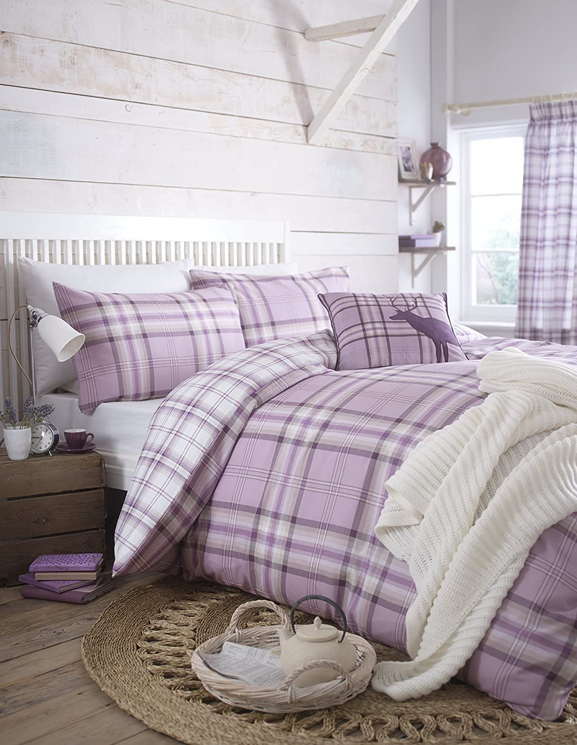 Catherine Lansfield Kelso Double Duvet Set - Heather: Amazon.co.uk ... : lilac quilt cover - Adamdwight.com