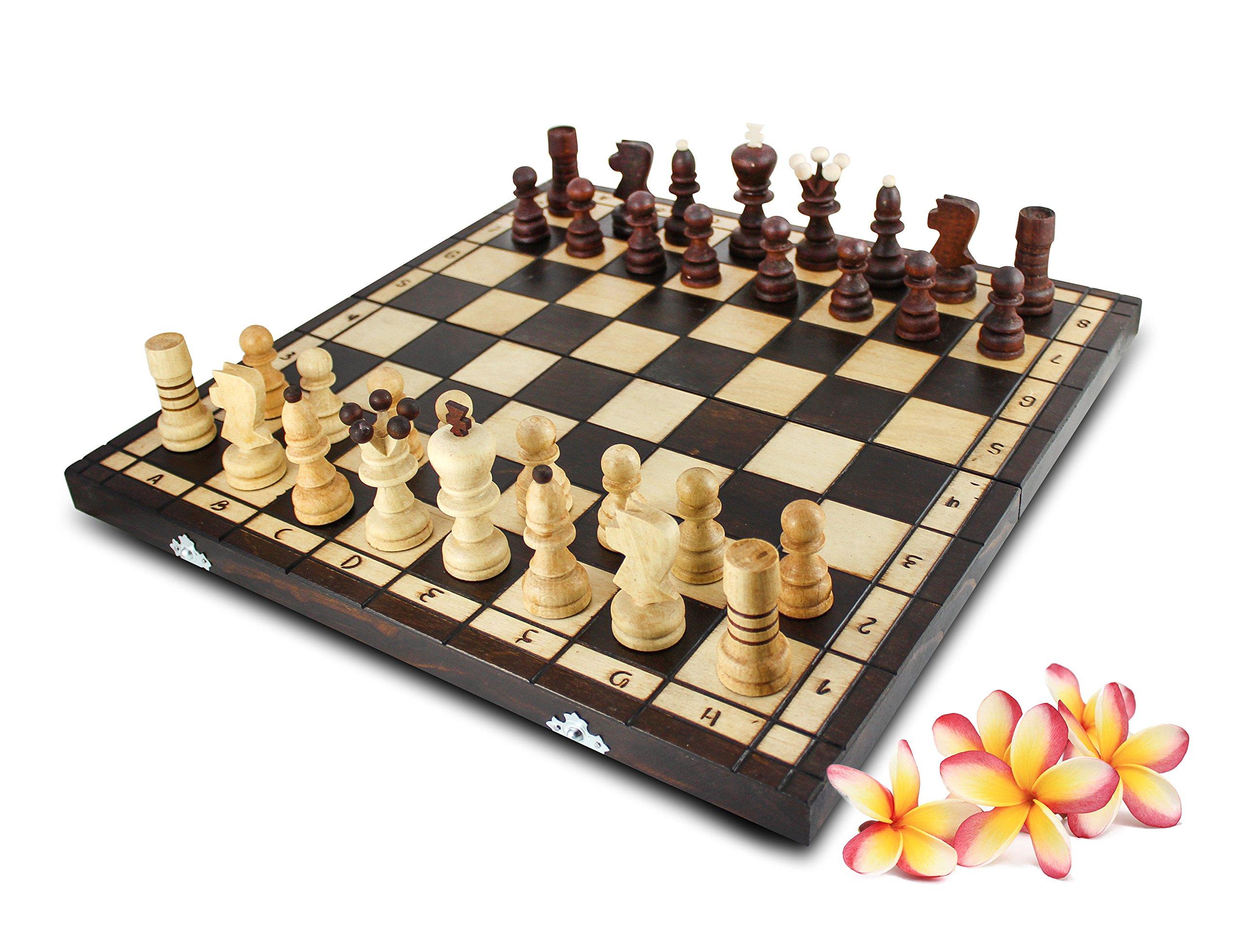 Schach-42x42cm-Handarbeit-Schachspiel-Brettspiel-Klappkoffer-inkl-Figuren-Holz Schach 42x42cm Handarbeit Schachspiel Brettspiel Klappkoffer inkl. Figuren Holz -