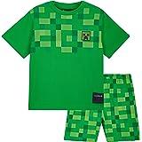 Minecraft Pijama Niño, Set 2 Piezas Pijamas Niños Cortos, Ropa de Niño 100% Algodon, Regalos para Niños y Adolescentes Edad 5