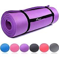 TRESKO Fitnessmatte Yogamatte Pilatesmatte Gymnastikmatte in 6 Farbvarianten/Maße 185cm x 60cm in 2 Stärken/Phthalates-getestet/NBR Schaumstoff/hautfreundlich, anschmiegsam, kälteisolierend